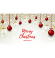 Christmas web banner with red and glass balls vector image