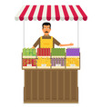 produce shop keeper fruit and vegetables retail vector image