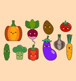 set of vegetables smiley face kawaii characters vector image