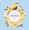 vintage card with roses and bird vector image