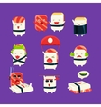 Funny Sushi Man Different Activities Set vector image