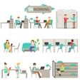 Coworking In Modern Design Office Infographic vector image