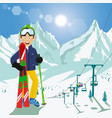 young man with skis and poles in mountains vector image