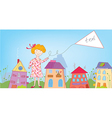 Happy child girl in the town with banner vector image