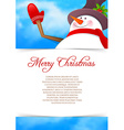 Xmas back with snowman vector image vector image