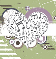 music heart on retro background vector image vector image