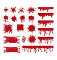 Blood drops and stains set of red splatter vector image