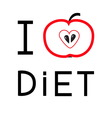 Red apple with heart shape I love diet card Flat d vector image