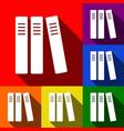row of binders office folders icon set vector image