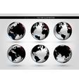 Set with metallic world globe vector image