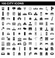 100 city icons set simple style vector image