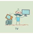 man throws an old TV and buy a new vector image vector image