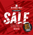 sale campaign buy 2 get 1 free background banner vector image