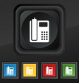 home phone icon symbol Set of five colorful vector image