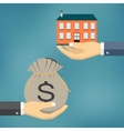 Hands with house and money bag vector image vector image
