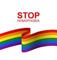 Stop homophobia card with LGBT flag vector image