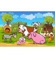 cartoon rural scene with farm animals vector image
