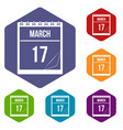 calendar with date of march 17 icons set hexagon vector image