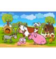 cartoon rural scene with farm animals vector image