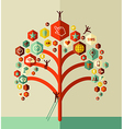 Colorful social network tree vector image