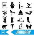 january month theme set of simple icons eps10 vector image