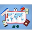 paper map of world passport airplane ticket vector image