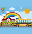 scene with children and school bus on the road vector image