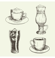Set of graphic drinks include cup of cappuccino vector image