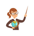 teacher character with a pointer and globe vector image