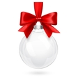 Christmas Glass Ball with Red Bow vector image