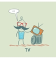 man throws an old television vector image vector image