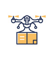 delivery drone - modern line design single vector image
