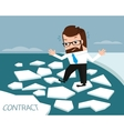 Lucky businessman on ice river vector image