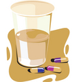 water and pills vector image