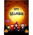Halloween children at sunset vector image
