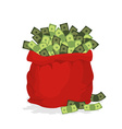 Money bag Santa Claus Big Red festive bag filled vector image