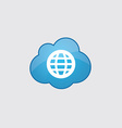 Blue cloud globe icon vector image