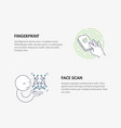 fingerprint and face scan authentication cyber vector image