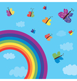 Rainbow and butterflies background vector image