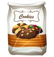 Cookies in white bag vector image