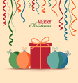 Christmas card with gift and colored balls vector image