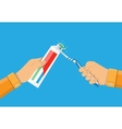 hands use toothpaste and a toothbrush vector image