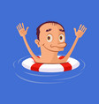 sinking man in lifebuoy vector image