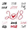 2018 handwritten sign set on white background vector image
