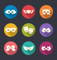 Set flat icons of Carnival or theatre masks with vector image vector image