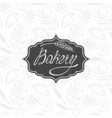 Bakery background and label with hand lettering vector image
