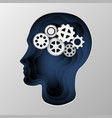 blue silhouette of a man s head carved on paper vector image