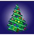 Christmas tree with balls and garland blue vector image
