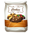 Cookies in white bag vector image