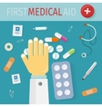 First Medical Aid Banner Hospital Equipment vector image